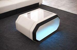 Details zu Stoff Couchtisch Wohnzimmertisch Design Tisch ROMA + LED  Beleuchtung