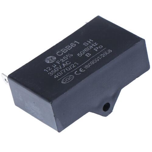 Black 12uF Generator Capacitor Generator CBB61 12uF 50//60Hz 350VAC Fan Motor  ^P