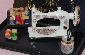 Dollhouse Miniature Sewing Machine Thread Scissors Set Reutter Porcelain 1:12