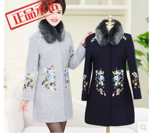 Womens Embroidered Flower Pattern Casual Long Sleeve Coat Casual New Overcoat