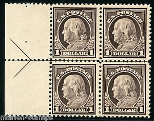 États-unis Benjamin Franklin Scott #518 Flèche Bloc Mint Lumière à Charnières