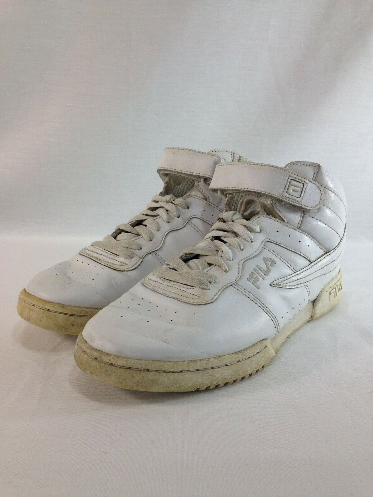 VTG Fila Sneakers shoes Mens 9.5 White Leather High Top Basketball Athletic