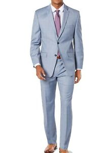 Marc New York Mens Suit Blue Size 36 Short Windowpane Slim Fit 2 Piece $395 034