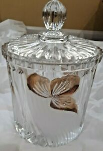 Vintage-Clear-Cut-Crystal-Gold-Leaves-Candy-Dish-with-Covered-Lid
