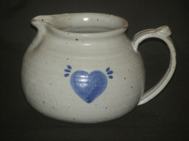 Signed Studio Pottery Stoneware Pitcher With Blue Heart Design