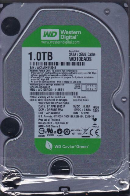 """Western Digital WD10EADS-114BB1 dcm: DARNNT2MA 1TB SATA HDD 3.5"""" A12-10"""