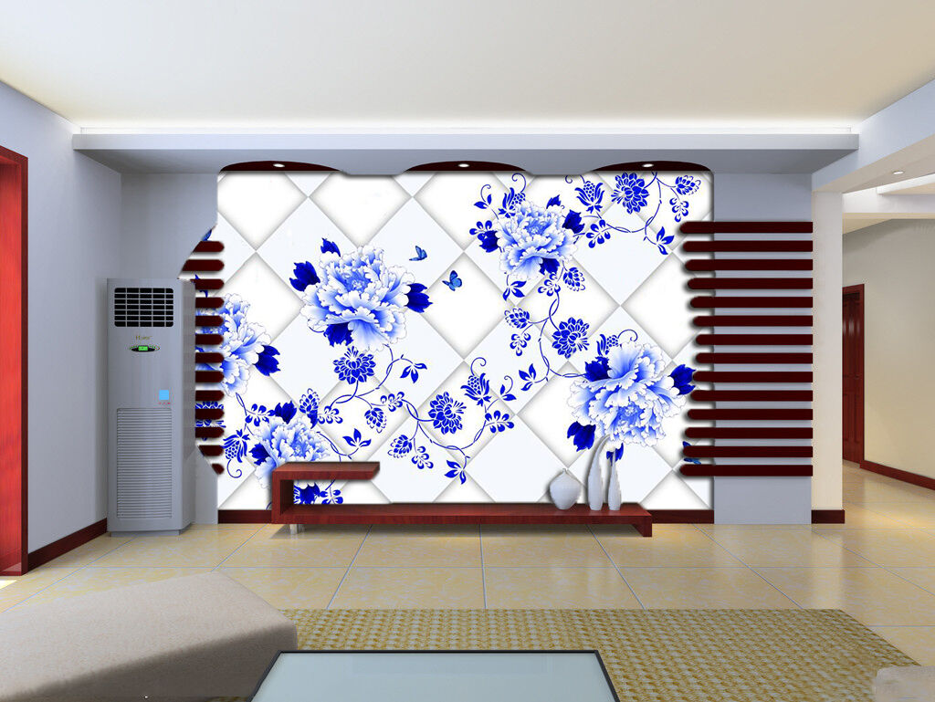 3D bluee Flower Vine Painting 14 Wall Paper Wall Print Decal Wall AJ WALLPAPER CA