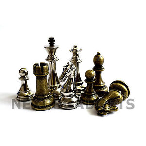 Jute-Chess-Pieces-4-INCH-King-BRONZE-SILVER-Metal-Set-Extra-Queens-NO-BOARD