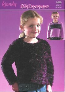 "Wendy Knitting Pattern 5071 Girls Gilet Sweater 24-30/"" Velvet Chenille Eyelash"