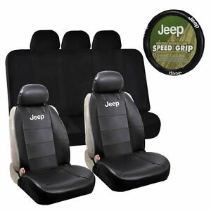 Pleasant Details About 2 Classic Sideless Synthetic Leather Seat Covers Steering Cover Bench For Jeep Gmtry Best Dining Table And Chair Ideas Images Gmtryco