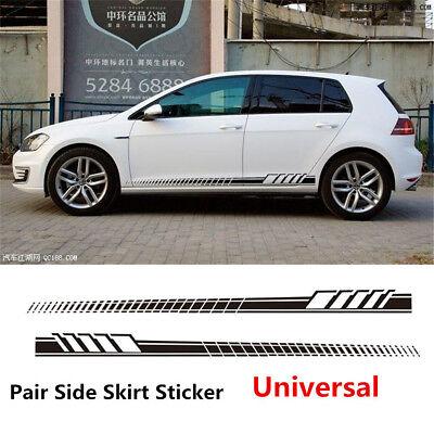 2pcs Fender Rhombus Strip Racing Graphic Sticker Car Side Sticker BLACK