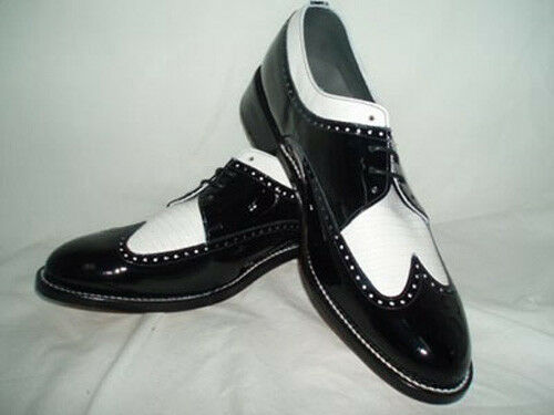 Black And White Wing Tip with Glossy Finish Tuxedo shoes