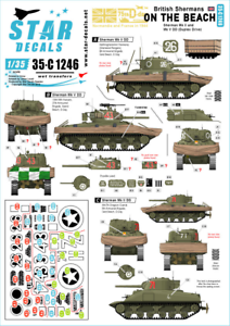 Star-Decals-1-35-Britannique-Shermans-sur-Plage-75th-Jour-J-Special-35-C1246