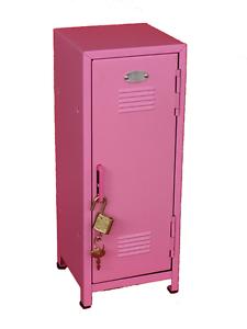 "Steel Construction White Kids Mini Metal Locker Kids Treasure Box 10.75/"" tall"