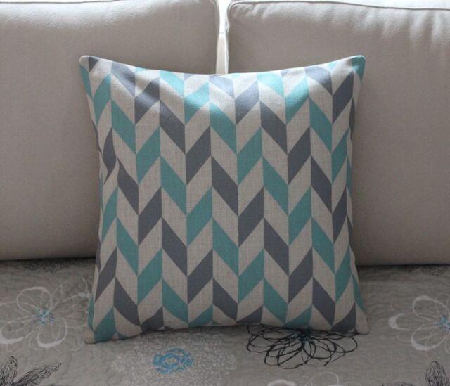 Grey Blue Geometries Cotton Linen Cushion Cover Throw Pillow Home Decor S2245