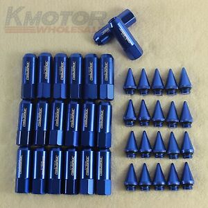 Blue-20PCS-M12X1-5-Cap-Spiked-Extended-Tuner-60mm-Aluminum-Wheels-Rims-Lug-Nuts