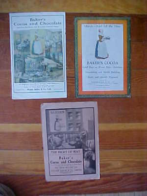 Energetic Three Vintage 1900's Walter Baker Gold Medal Cocoa Chocolate Labelle Ad Print Merchandise & Memorabilia
