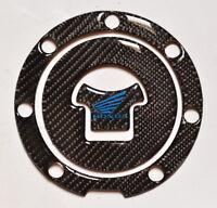 Honda Cbr 1000 600 Rr Real Carbon Fiber +blue Logo Tank Cap Filler Cover Sticker