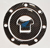 Honda Cbr 1000 600 Rr Real Carbon Fiber +blue Logo Tank Cap Filler Cover Sticker