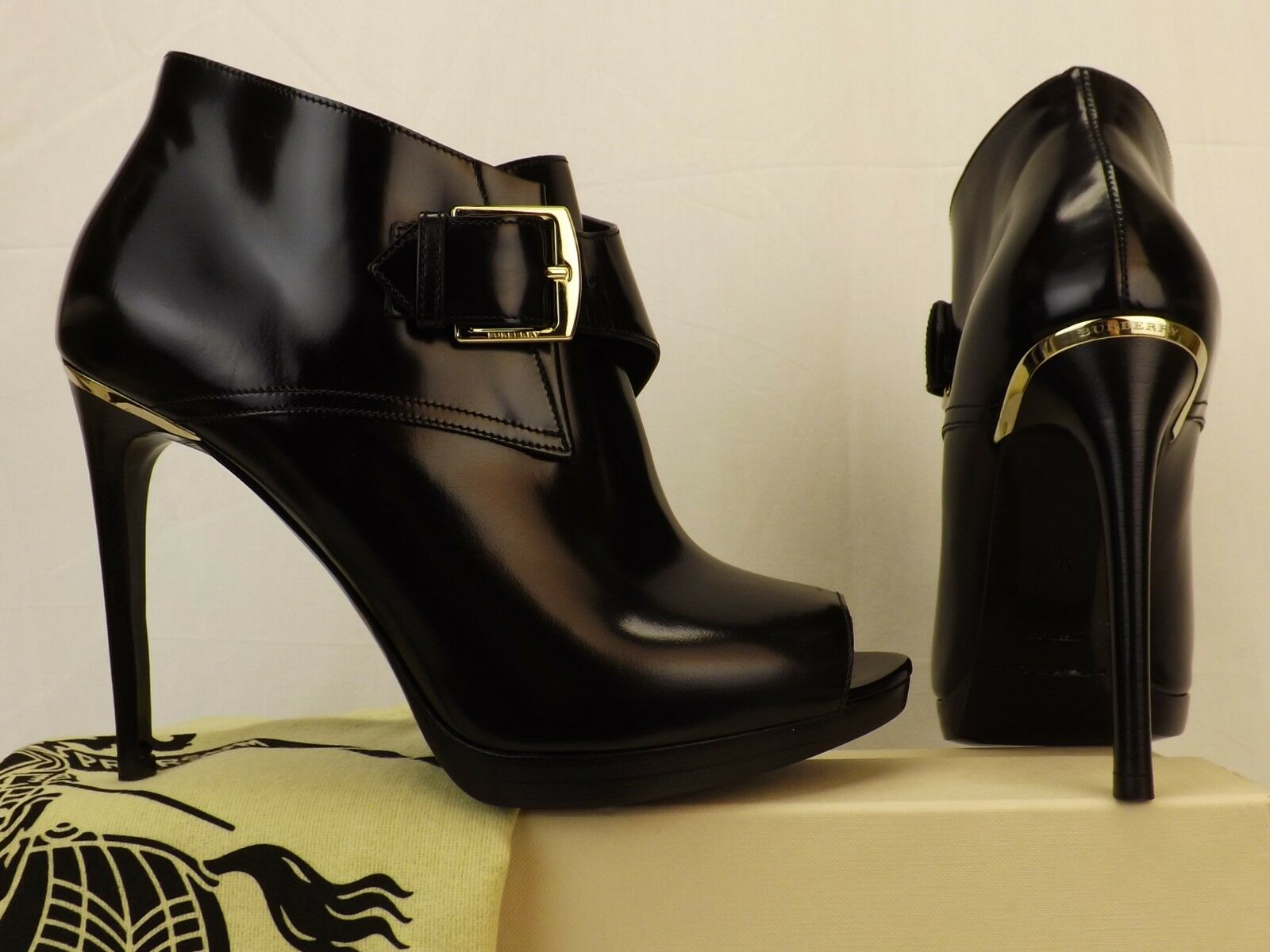 BURBERRY HOLTSMERE BLACK LEATHER BELTED BUCKLE PEEP TOE ANKLE BOOTS 37.5  995