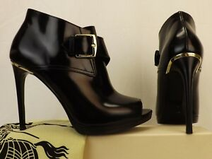 BURBERRY-HOLTSMERE-BLACK-LEATHER-BELTED-BUCKLE-PEEP-TOE-ANKLE-BOOTS-41-995