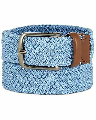 $110 PERRY ELLIS Men/'s BLUE WEBBED BRAIDED LEATHER TRIM CASUAL BELT SIZE 38-40 L