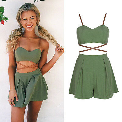 Sexy Women 2Piece Bandage Crop Cami Tops + Casual Cocktail Party Shorts Jumpsuit