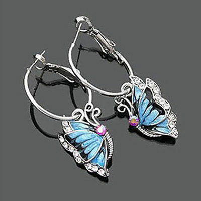 1Pair Blue Crystal Rhinestone Enamel Butterfly Dangle Hoop Earrings beautiful