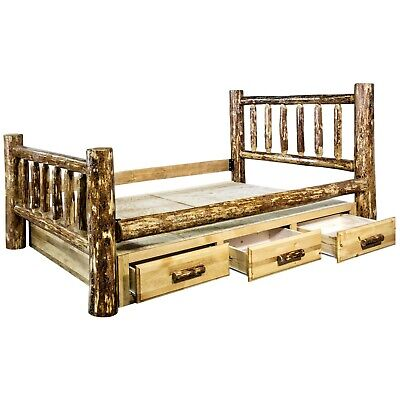 Superb King Storage Bed With Drawers Amish Made Log Beds Montana Lodge Cabin Furniture Ebay Evergreenethics Interior Chair Design Evergreenethicsorg