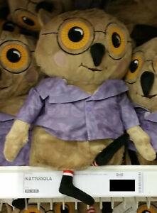 IKEA Kattuggla Owl SOFT Plush Toy BROWN Wise Old Bird Spectacles NWT Purple Coat