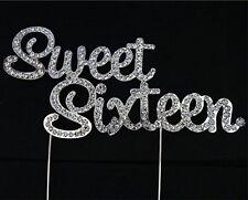 Rhinestone Birthday Cake Topper  Pick Diamante Decoration 16 - Sweet Sixteen