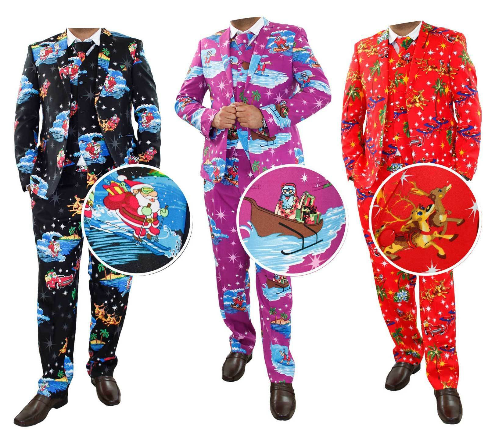 New  Herren Christmas Fancy Dress Novelty Print Deluxe Festive Costumes Casual Suit