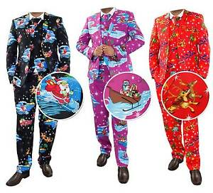 ddee9682817e1 Details about Mens Christmas Fancy Dress Novelty Print Deluxe Festive  Costumes Casual Lot Suit