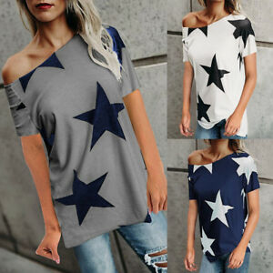 b169dc6124 Fashion Women s Off Shoulder Short Sleeve T Shirts Casual Loose Fit ...