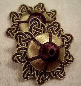 "HOULES ROOTBEER & BRUSHED GOLD ""ANTICA"" FRENCH PASSEMENTERIE ROSETTE TRIM FRINGE"