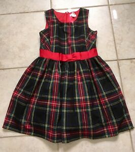 Cat-And-Jack-Girls-Dress-Plaid-Green-Red-Sz-M-7-8-Zip-Up-Bow