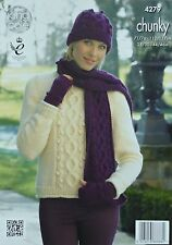 KNITTING PATTERN Ladies Cable and Bobble Jumper Hat Scarf Mitts Chunky KC 4279