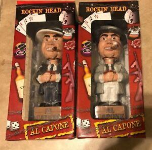 LOT-2-Scarface-Al-Capone-Bobble-Head-New-Gray-w-White-Black-Suit-NEW-in-box
