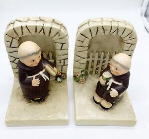 Vintage-1956-Goebel-Hummel-Friar-Tuck-Bookends-West-Germany
