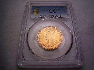 Canada 1913 $10 Gold PCGS AU55. 149,232 minted.