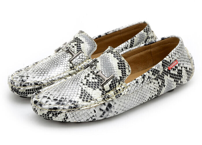 Uomo Crack snakeskin moccasin-gommino driving loafers Flat boat Shoes Leisure SY