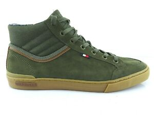 Tommy-Hilfiger-Men-039-s-Sneakers-High-Top-Leather-Low-Shoes-Lace-up-Green-42