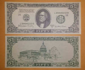 Vintage-Authentic-Original-1960-1990-Hollywood-Movie-Prop-Money-50-Bill