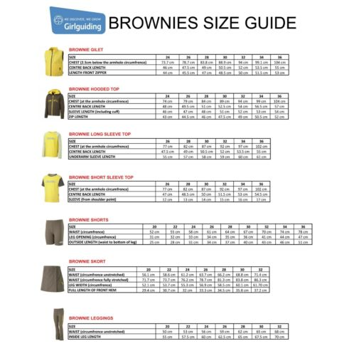 "NEW BROWNIES SHORT SLEEVE T-SHIRT TOP BROWNIES GIRL GUIDES UNIFORM SIZE 26/""-36/"""