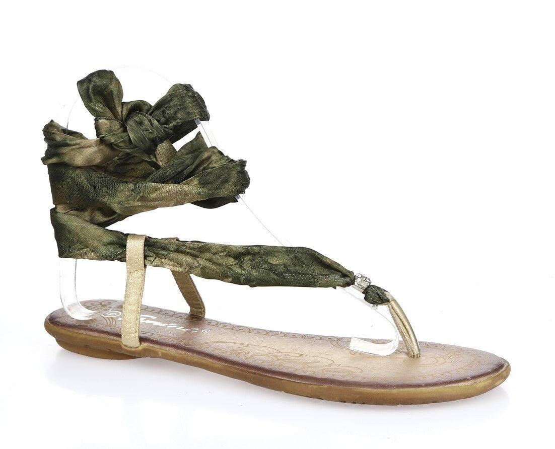 Womens FEMINI olive green fabric thong sandals sz. 6 NEW
