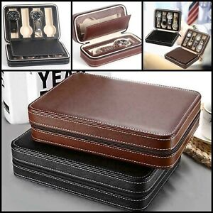 2-4-8-Slot-Mens-Watch-Box-Faux-Leather-Display-Case-Organizer-Travel-Storage