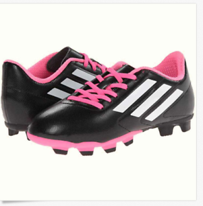 Details about NWT ADIDAS SOCCER CLEATS BLACK PINK WHITE CONQUISTO FG J GIRLS SIZE 4.5 Y
