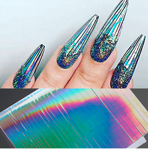 Image Is Loading Holographic Laser Nail Art Stickers Holo Strip