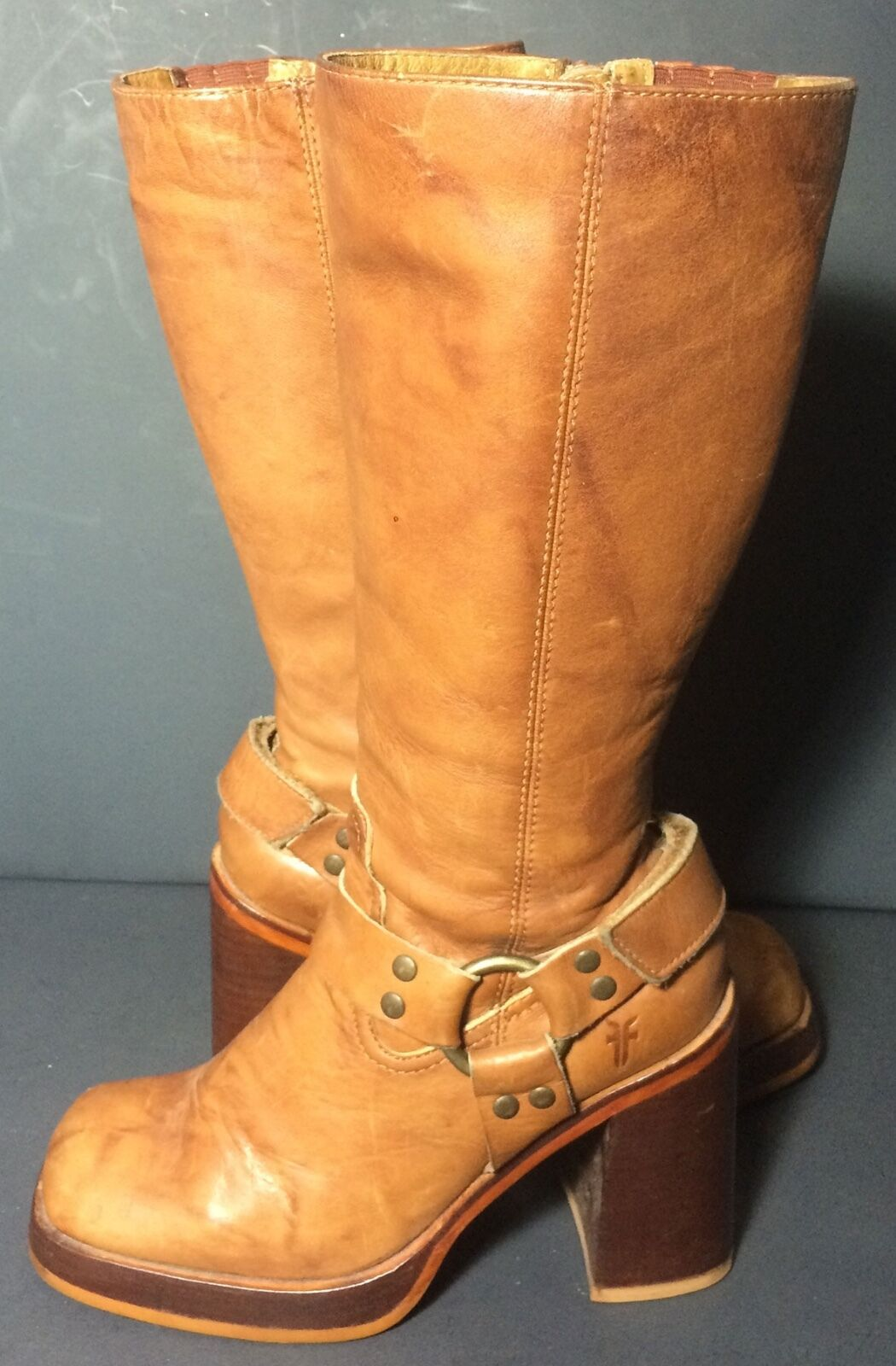 FRYE 77550 Karma Harness Brown Marbled Leather Motorcycle Boots Women's Size 6.5