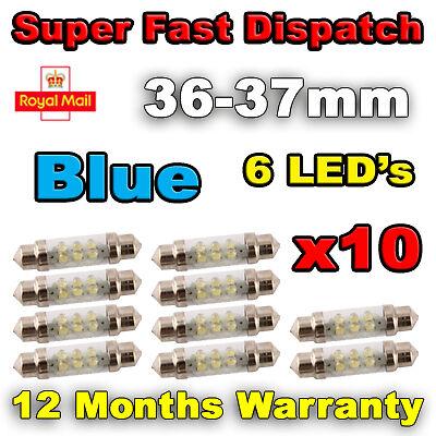 20x 36mm 37mm NUMBER PLATE INTERIOR LIGHT FESTOON BULB 6 LED BLUE 239 272
